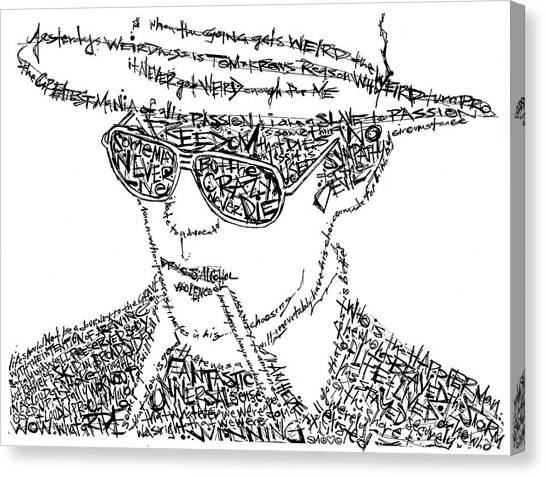 Gun Control Canvas Print - Hunter S. Thompson Black And White Word Portrait by Inkpaint Wordplay