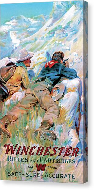 Canvas Print featuring the painting Hunters And Mountain Goats by Philip R Goodwin