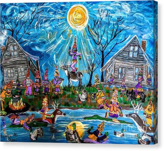 Hoodie Canvas Print - Hunter's Courir De Mardi Gras  by Seaux-N-Seau Soileau
