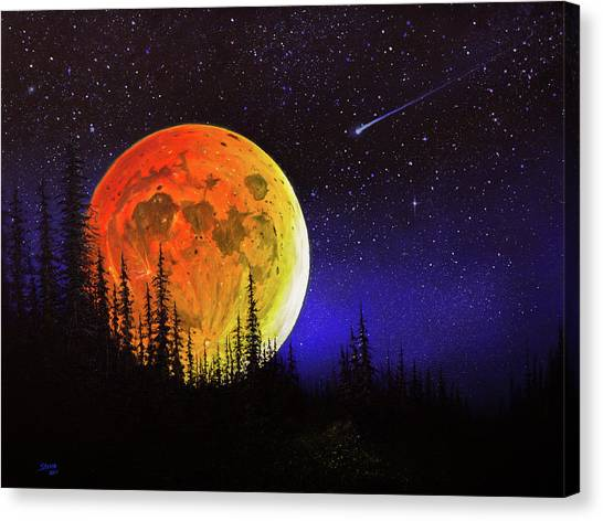 Bob Ross Canvas Print - Hunter's Harvest Moon by Chris Steele