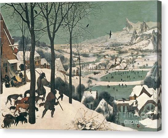 Skating Canvas Print - Hunters In The Snow by Pieter the Elder Bruegel