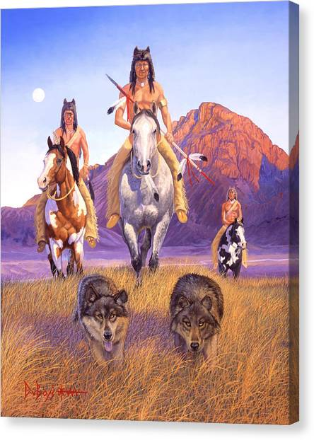 Hunters Of The Full Moon Canvas Print
