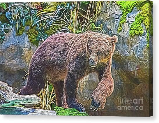 Canvas Print featuring the digital art Hunting Bear by Ray Shiu