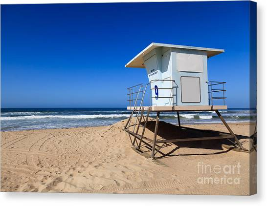 Lifeguard Canvas Print - Huntington Beach Lifeguard Tower Photo by Paul Velgos