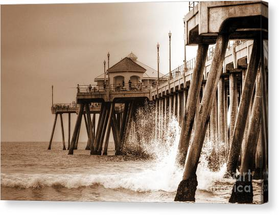 Huntington Beach Pier In Sepia Canvas Print