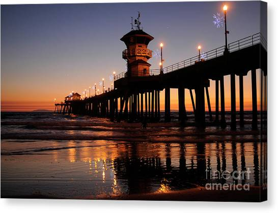 Huntington Beach Pier Canvas Print by Timothy OLeary