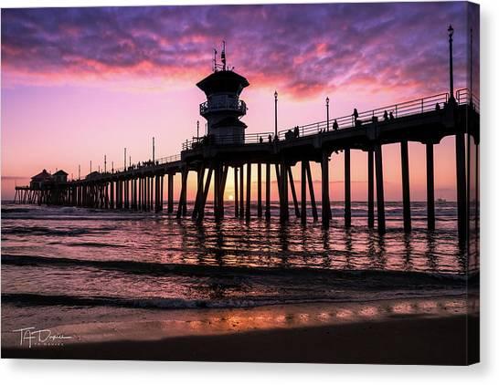 Huntington Pier At Sunset 2 Canvas Print