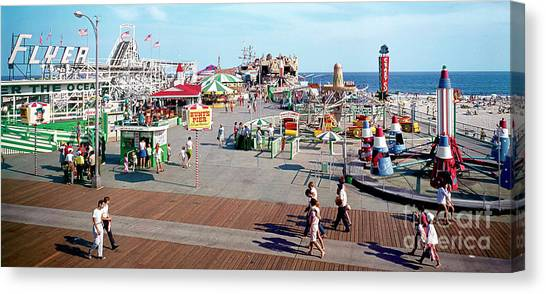 Flyer Canvas Print - Hunts Pier In The 1960's, Wildwood Nj Sixties Panorama Photograph. Copyright Aladdin Color Inc. by Retro Views