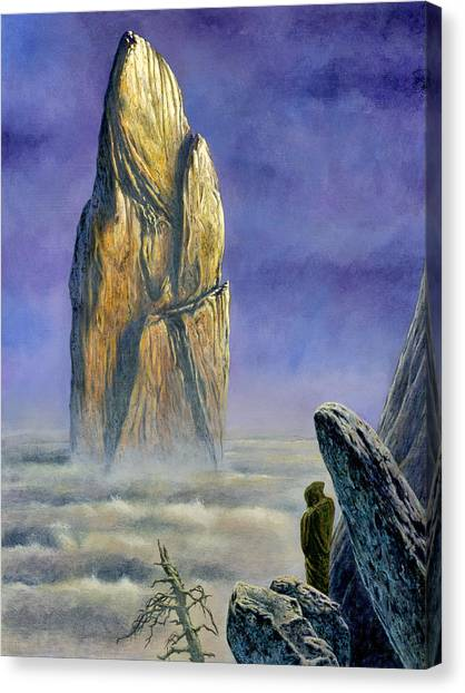 Canvas Print featuring the painting Hurin Looks Upon A Monolith Of The Echoriath by Kip Rasmussen