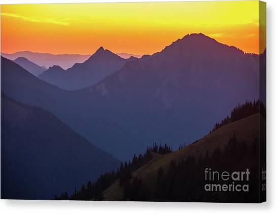 Vancouver Island Canvas Print - Hurricane Ridge Sunset Layers by Mike Reid