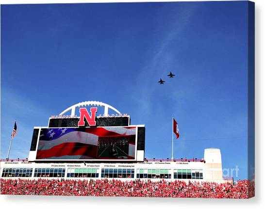 Husker Memorial Stadium Air Force Fly Over Canvas Print