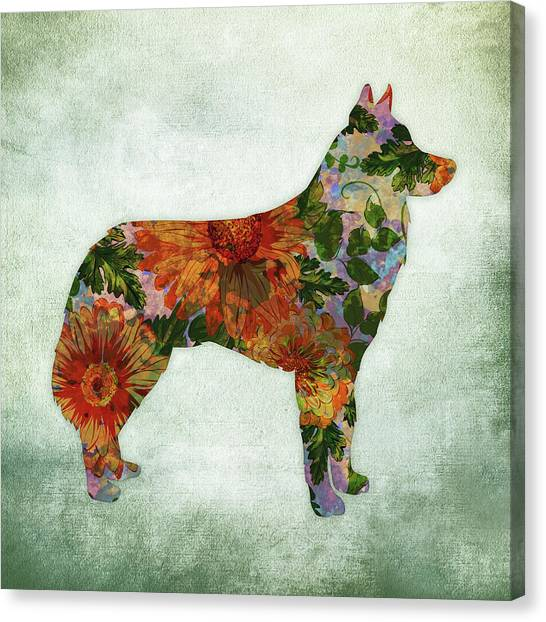 Watercolor Pet Portraits Canvas Print - Husky Dog Floral On Green by Flo Karp