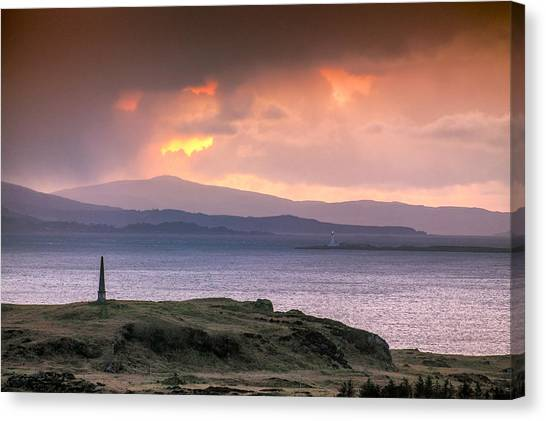 Hutcheson's Monument On The Isle Of Kerrera At Sunset Canvas Print