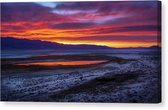 Hwy 395 Sunrise Canvas Print by Steve Spiliotopoulos