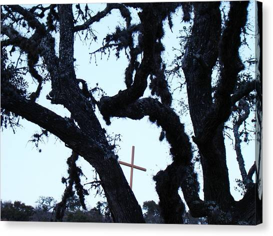 Hwy 87 Cross Two Canvas Print by Ana Villaronga