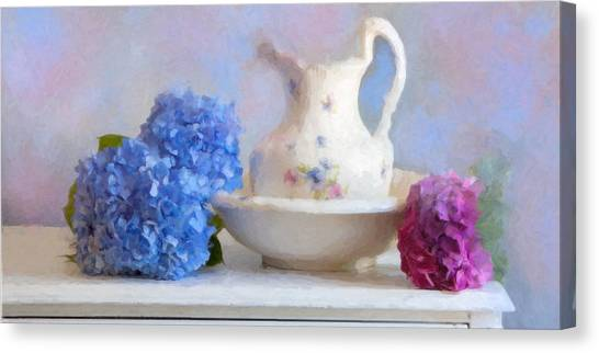 Wash Basin Canvas Print - Hydrangea And Wash Basin by Michael Petrizzo