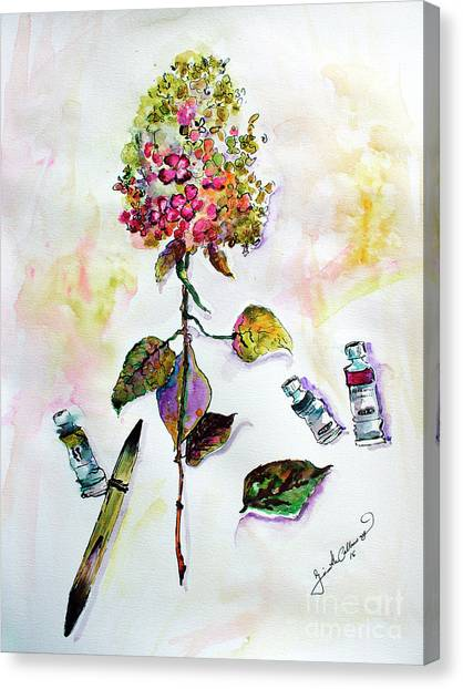 Hydrangea Still Life With Objects Canvas Print