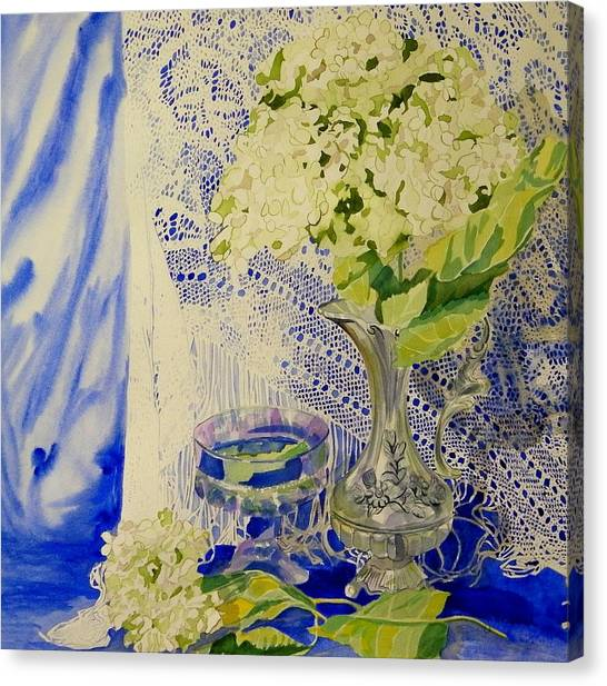Hydrangia And Lace Canvas Print by Terry Honstead