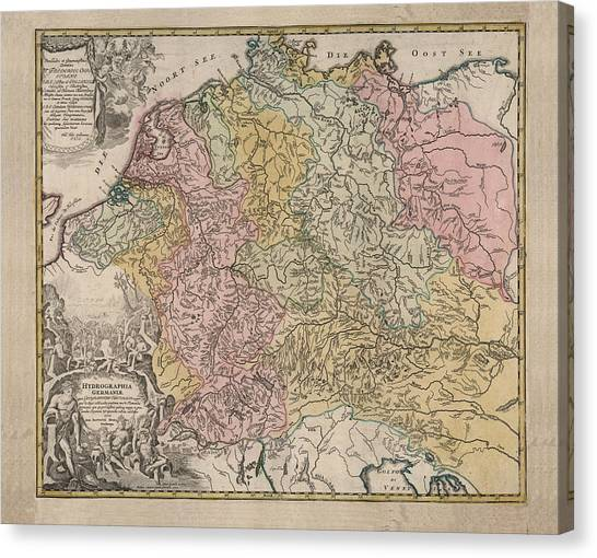 Geographical Map Of Germany.Map Of Germany Canvas Prints Fine Art America
