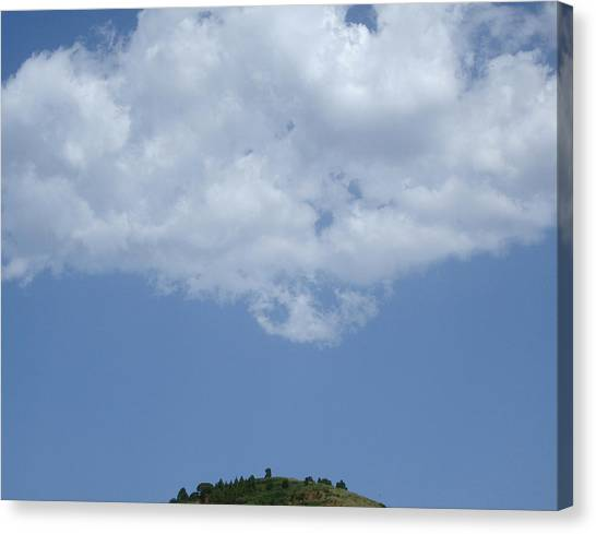 Hyperion - Lonely Cloud On Blue Sky Canvas Print