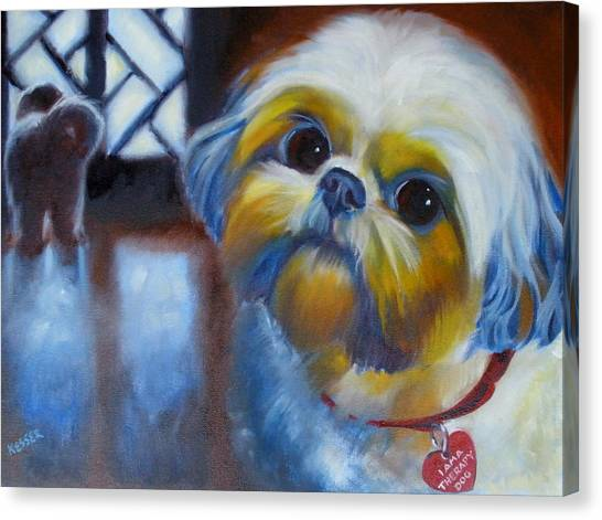 I Am A Therapy Dog Canvas Print by Kaytee Esser