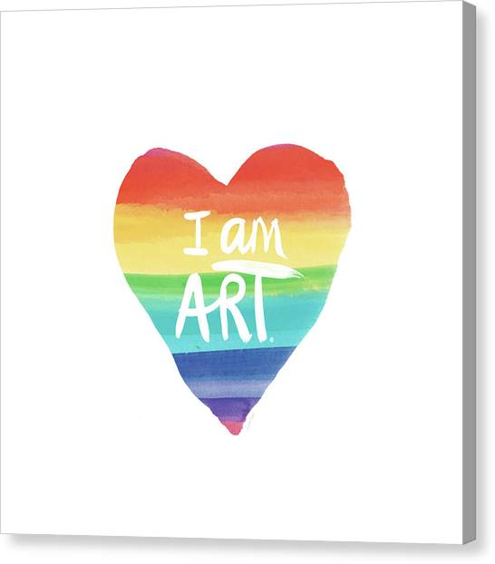Heart Canvas Print - I Am Art Rainbow Heart- Art By Linda Woods by Linda Woods