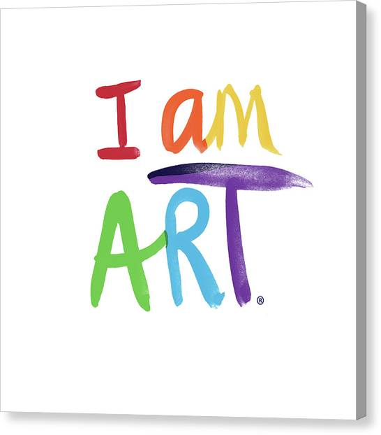 Rainbows Canvas Print - I Am Art Rainbow Script- Art By Linda Woods by Linda Woods