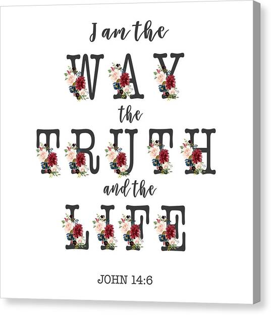 Canvas Print featuring the painting I Am The Way The Truth And The Life Typography by Georgeta Blanaru