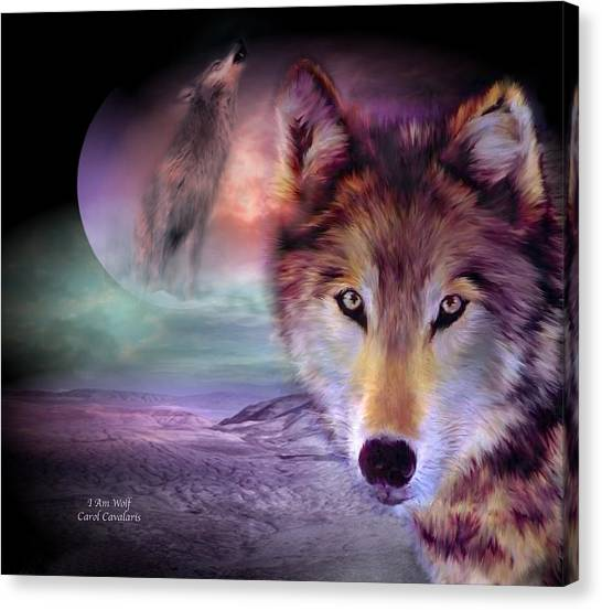 Howling Wolves Canvas Print - I Am Wolf by Carol Cavalaris