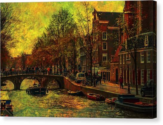 I Amsterdam. Vintage Amsterdam In Golden Light Canvas Print