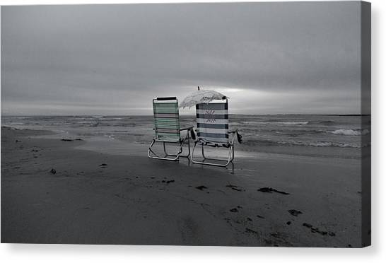 Ocean Sunsets Canvas Print - I Brought A Chair For You by Betsy Knapp