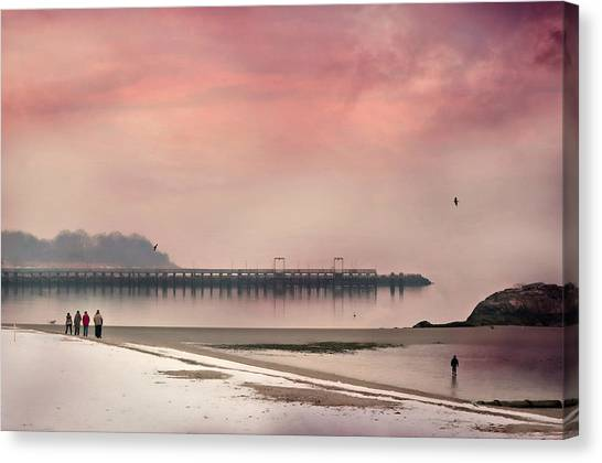 People Walking On Beach Canvas Print - I Can Feel You by Diana Angstadt