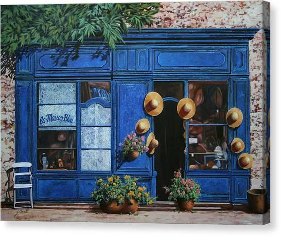 Shops Canvas Print - I Cappelli Gialli by Guido Borelli