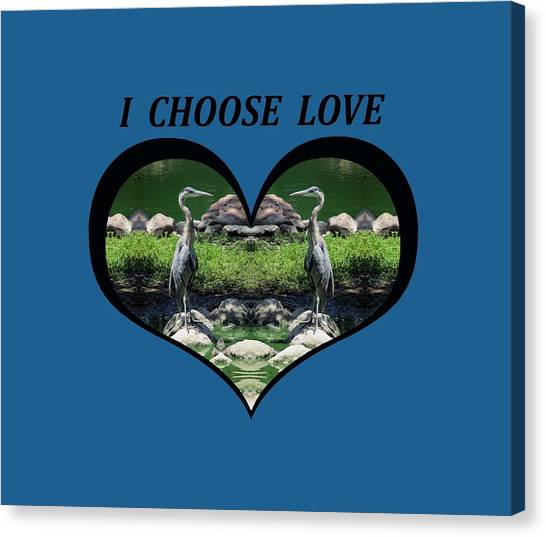 I Chose Love With A Heart Framing Blue Herons Canvas Print