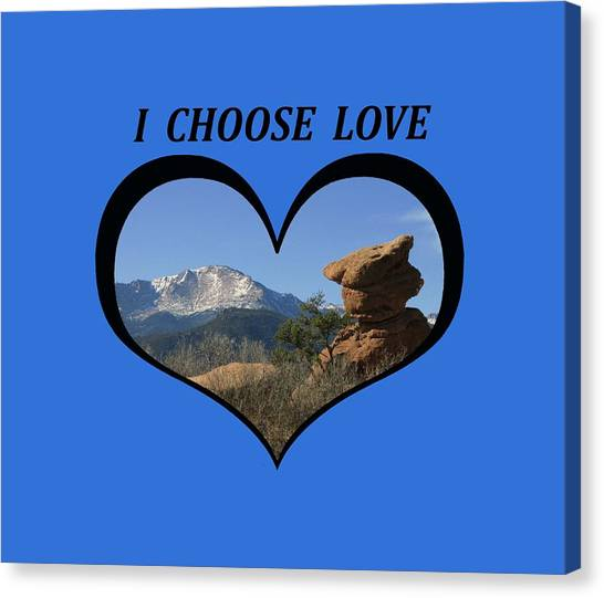 I Chose Love With A Joyful Dancer And Pikes Peak In A Heart Canvas Print