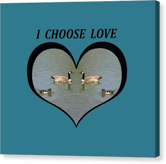 I Choose Love With A Spoonbill Duck And Geese On A Pond In A Heart Canvas Print