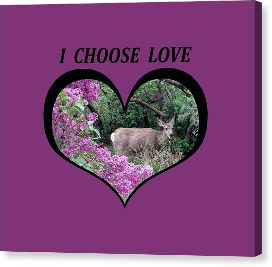 I Chose Love With Deers Among Lilacs In A Heart Canvas Print