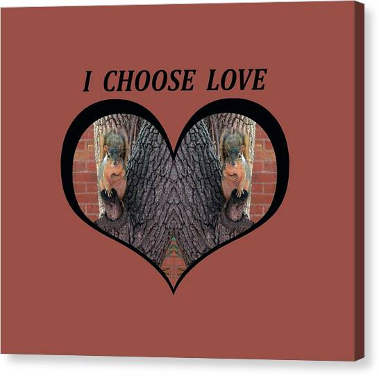 I Chose Love With Squirrels Hands On Hearts Canvas Print