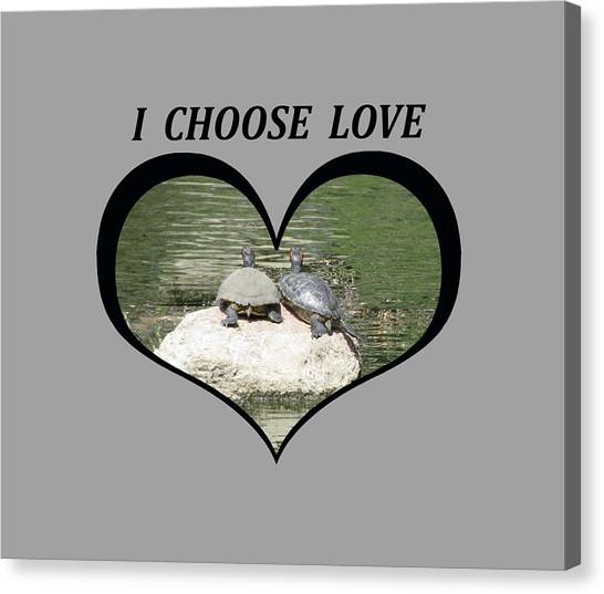 I Chose Love With Two Turtles Snuggling Canvas Print