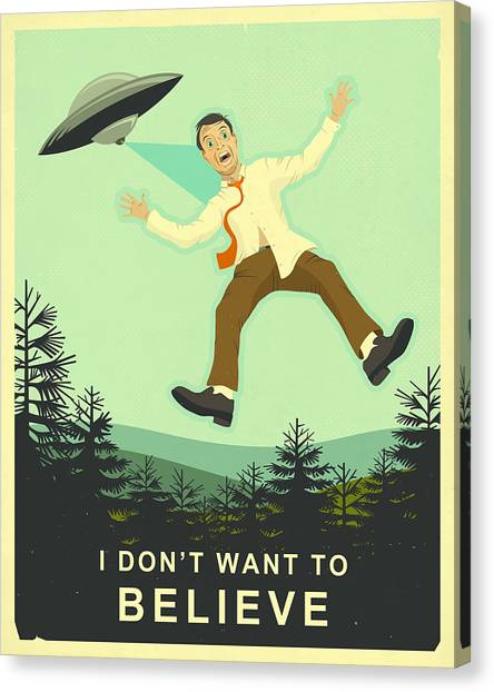 Aliens Canvas Print - I Don't Want To Believe by Jazzberry Blue