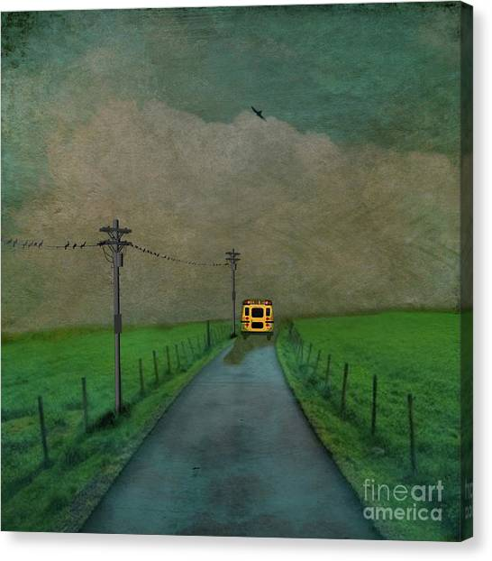 School Buses Canvas Print - I Double Dog Dare You by AJ Yoder