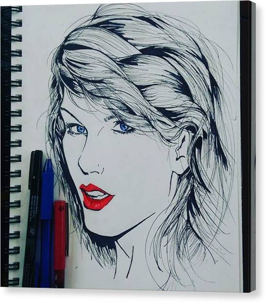 Taylor Swift Canvas Print - I Drew Taylor Swift With Pens by Marc-Andre Morissette