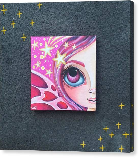 Stars Canvas Print - I Finished Another Mini Painting Today by Jaz Higgins