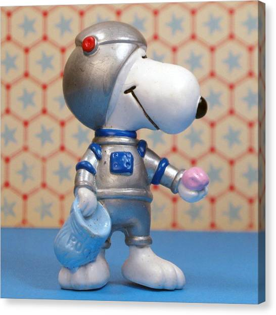 Astronauts Canvas Print - I Got A Moon Rock. #snoopy #peanuts by Caren Pilgrim