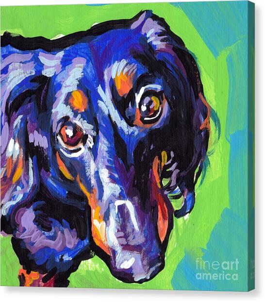 Dachshunds Canvas Print - I Got My Eyese On You by Lea S