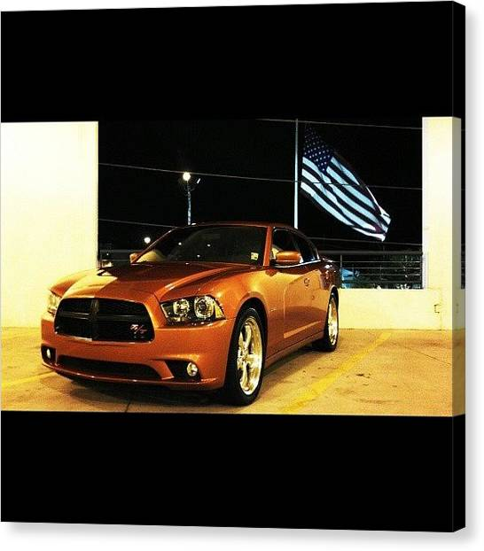 Dodge Canvas Print - I Got The American Flag In It. Haha by Britt Bassil