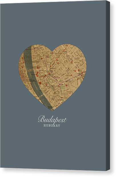 Budapest Canvas Print - I Heart Budapest Hungary Street Map Love Series No 100 by Design Turnpike