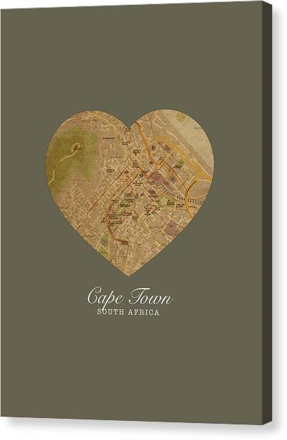 Cape Town Canvas Print - I Heart Cape Town South Africa Street Map Love Series No 090 by Design Turnpike