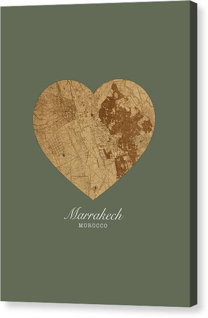 Moroccon Canvas Print - I Heart Marrakech Morocco Street Map Love Series No 081 by Design Turnpike