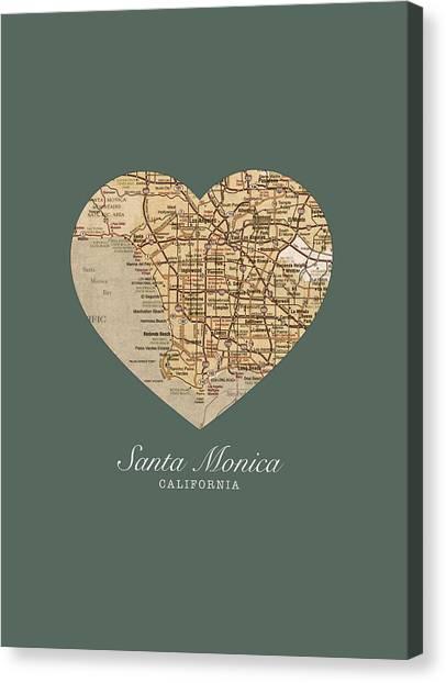 Santa Monica Canvas Print - I Heart Santa Monica California Vintage City Street Map Americana Series No 020 by Design Turnpike